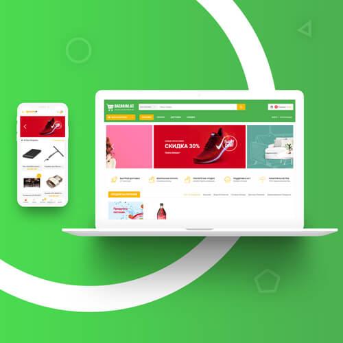 Разработка дизайн сайта и создание сайта в Ташкенте для bazarim.uz